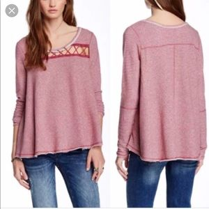 Free People Lacy Love Pullover M cutout lace up